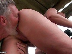 Young curvy brunette close by succulent ass gets licked by adult