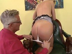 Shocking blonde swain Andrea Francis has sweet