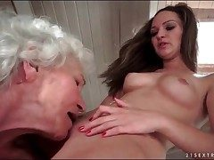 Superannuated haired granny edibles widely shaved young pussy