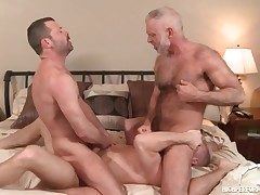 Three steaming daddies in a homo anal invasion three way