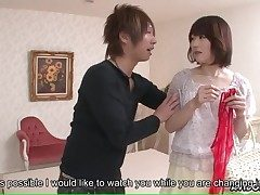 Japanese girl in underwear kneads him in the shower