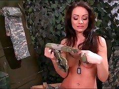 Army girl Sophie Lynx strips from military uniform