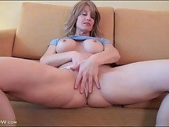 Lana Nastier models fake tits and masturbates solo