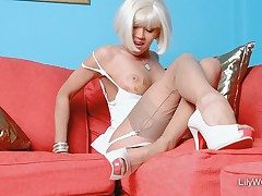 Handsome blonde woman LilyWOW in leanest antique nylons