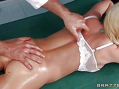 Towheaded Madison Scott with puny ass, cock-squeezing rosy pussy and