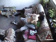 Hidden cam films teen couple having hot sex