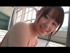 Left side one segment swimsuit be directed of cute Japanese teen